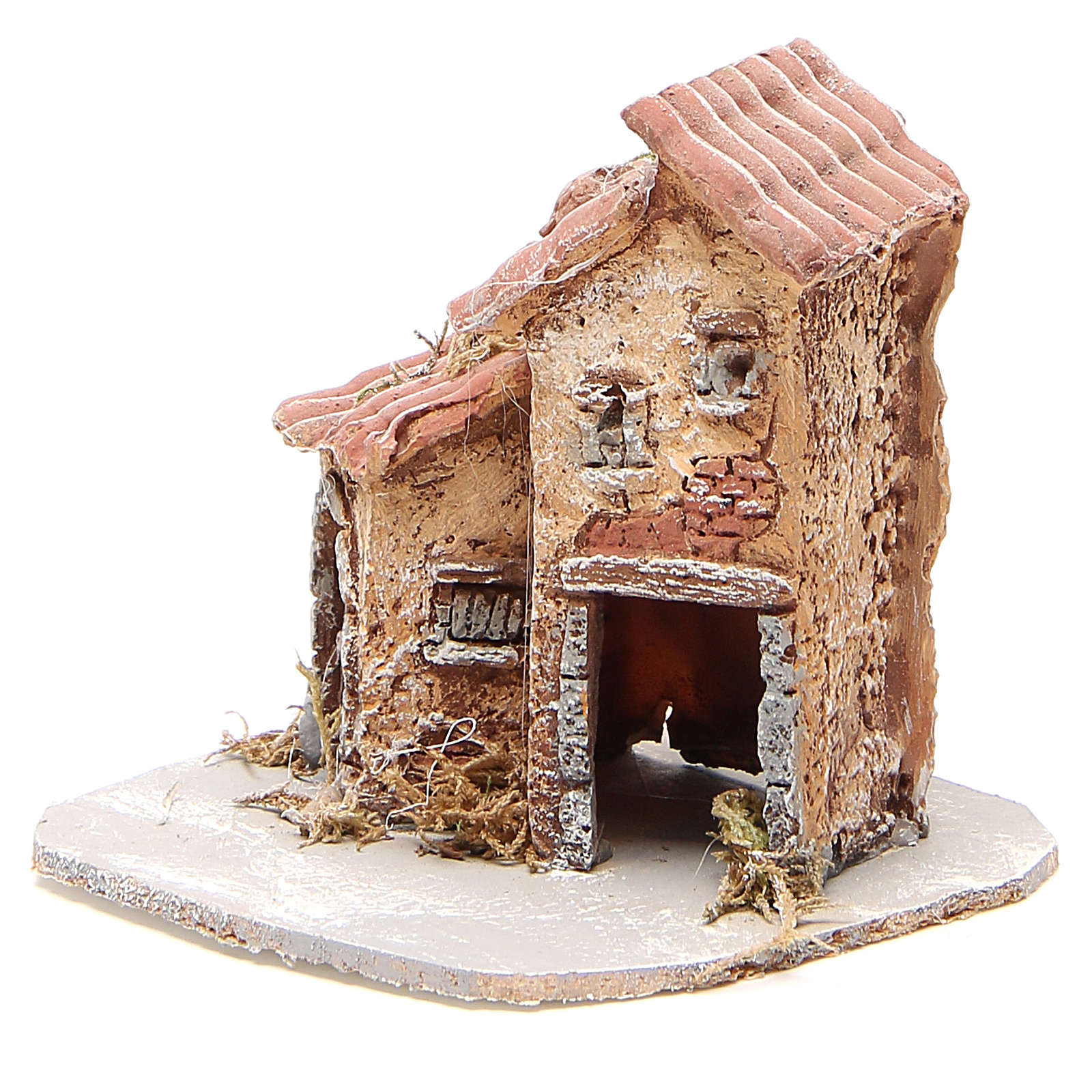 House in wood and resin for nativity scene, 14x14x14cm 4