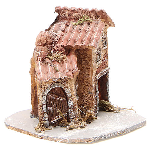 House in wood and resin for nativity scene, 14x14x14cm 3