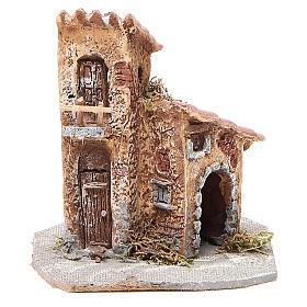 Neapolitan Nativity Scene: House in wood and resin for nativity scene, 15x12x15cm