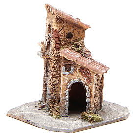 House in wood and resin for nativity scene, 15x12x15cm s2