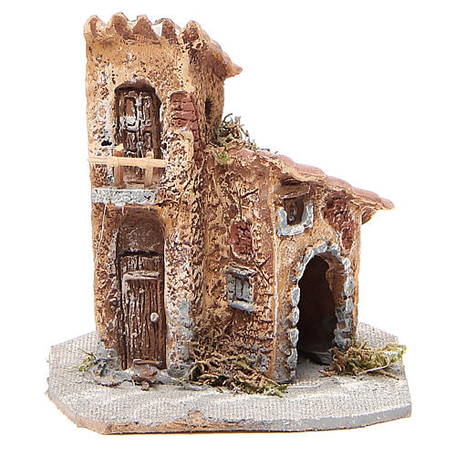 House in wood and resin for nativity scene, 15x12x15cm 1