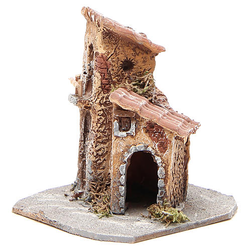 House in wood and resin for nativity scene, 15x12x15cm 2