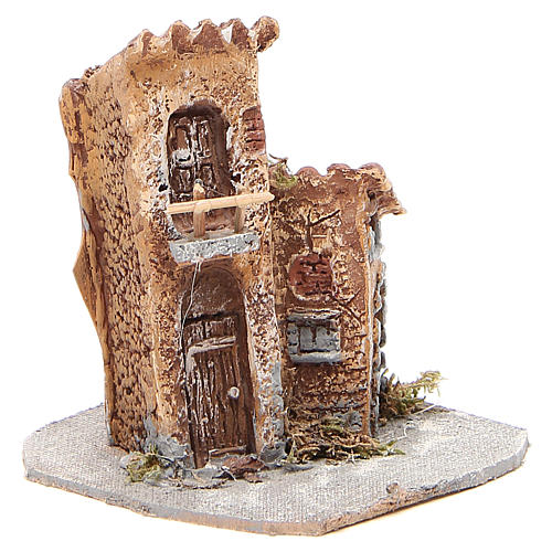 House in wood and resin for nativity scene, 15x12x15cm 3