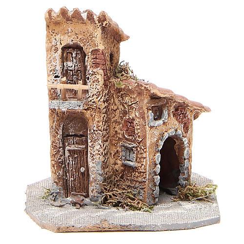 Maisonnette résine bois pour crèche 15x12x15 cm 1