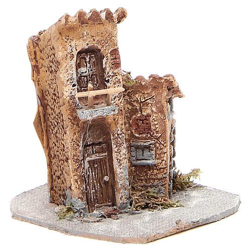 Maisonnette résine bois pour crèche 15x12x15 cm 3