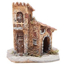 Presepe Napoletano: Casetta resina legno per presepe 15x12x15 cm