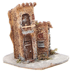 Casinha resina madeira para presépio 15x12x15 cm s3