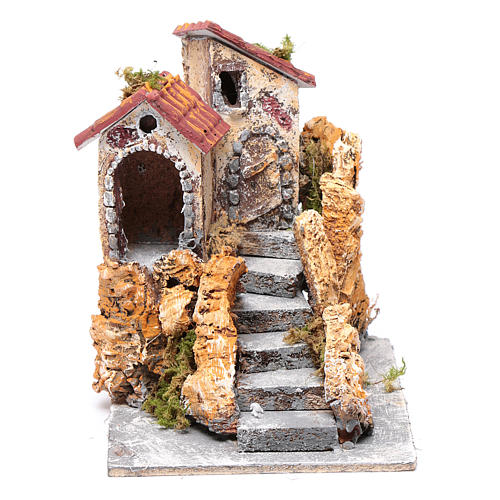 House with stairs in cork and resin for nativity scene, 16x15x18cm 1