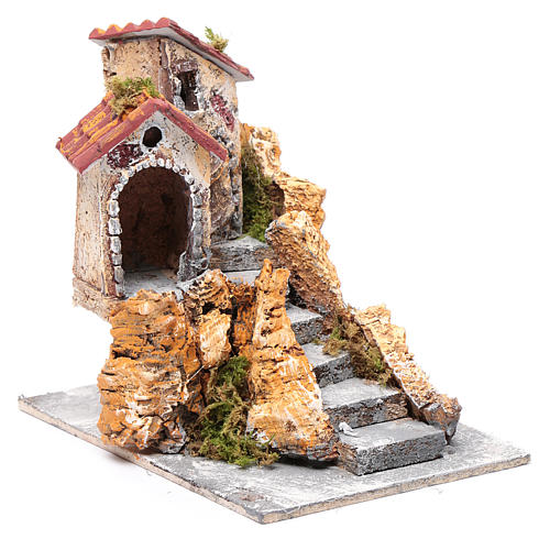 House with stairs in cork and resin for nativity scene, 16x15x18cm 3