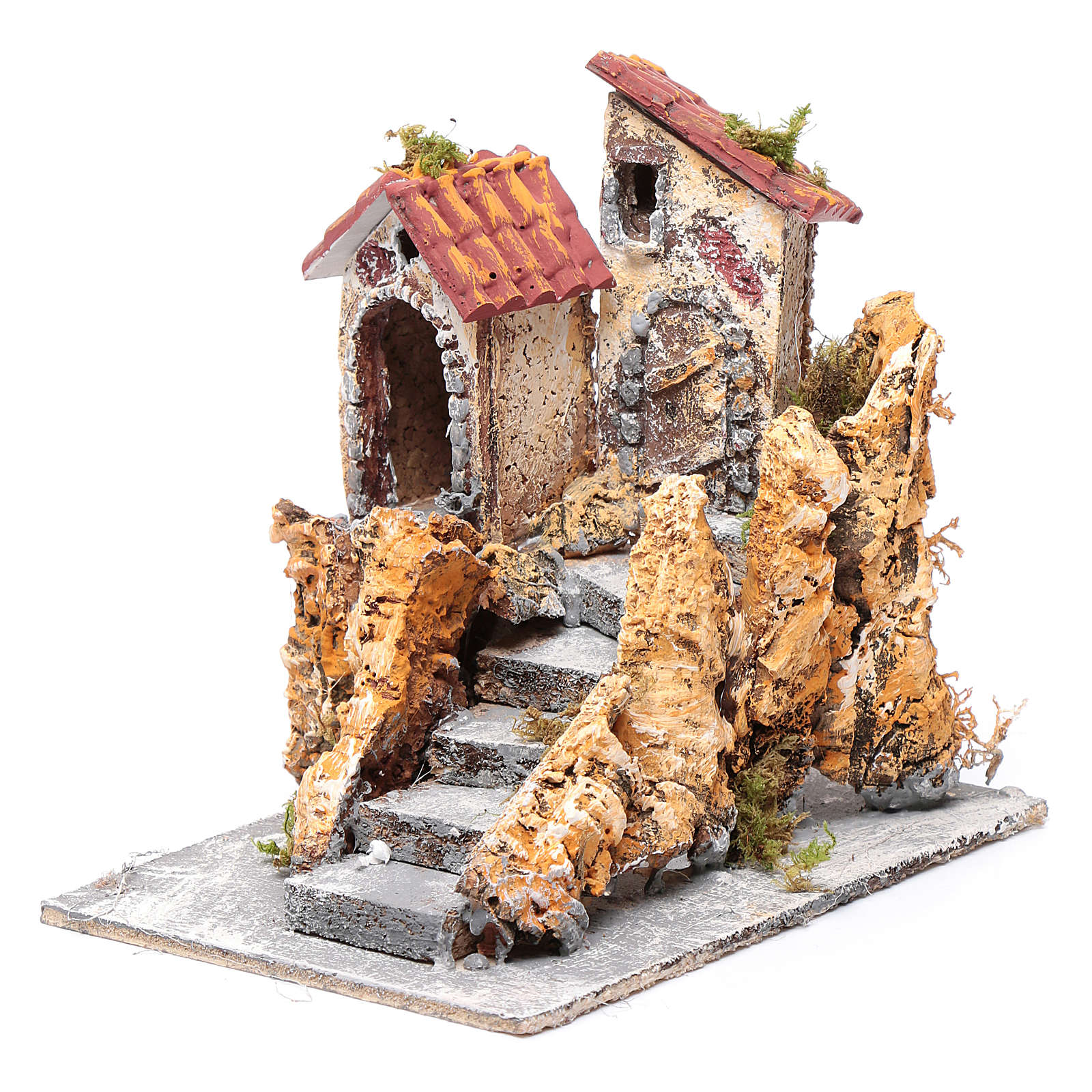 Domy ze schodami do szopki  korek i żywica 16x15x18 cm 4