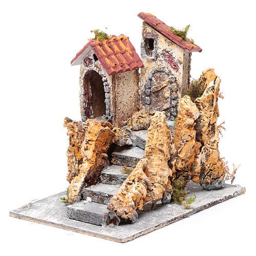 Domy ze schodami do szopki  korek i żywica 16x15x18 cm 2