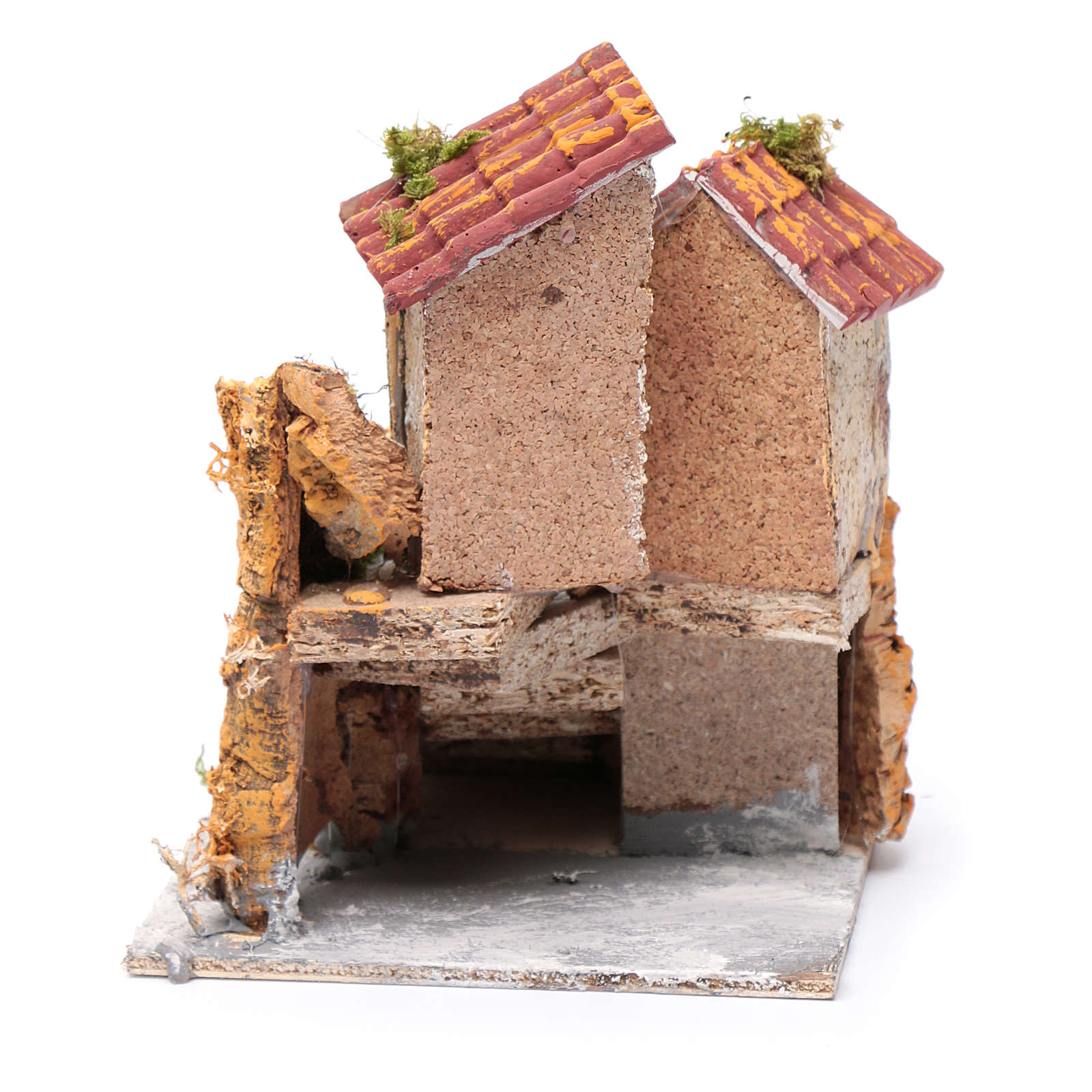 House with stairs in cork and resin for nativity scene, 16x15x18cm 4