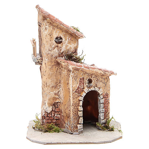 House in resin and wood for Neapolitan Nativity scene, 22x15x15cm 1