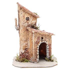Casinha resina e madeira presépio Nápoles 22x15x15 cm s1