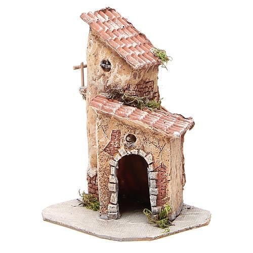 Casinha resina e madeira presépio Nápoles 22x15x15 cm 2