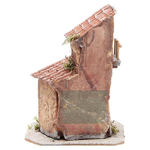 Casinha resina e madeira presépio Nápoles 22x15x15 cm 4