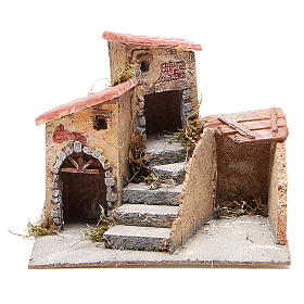 Neapolitan Nativity Scene: Composition of houses for cork and resin Nativity scene, 19x20x18cm