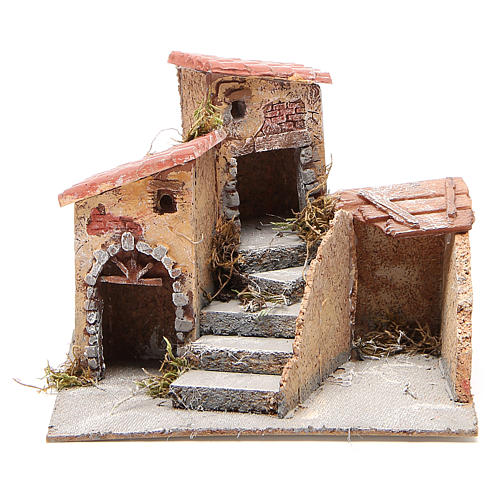 Composition of houses for cork and resin Nativity scene, 19x20x18cm 1