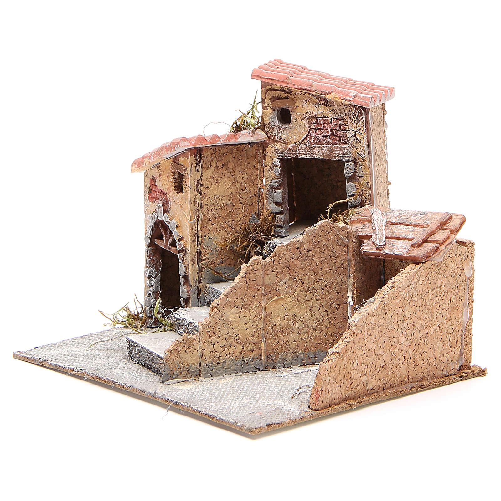 Maisons composition crèche liège et résine 19x20x18 cm 4