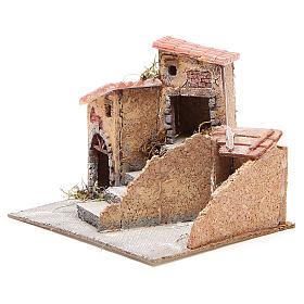 Maisons composition crèche liège et résine 19x20x18 cm s2
