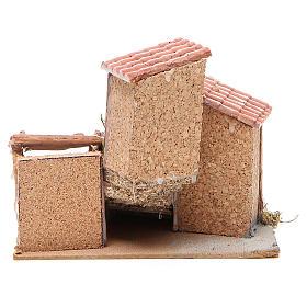 Maisons composition crèche liège et résine 19x20x18 cm s4