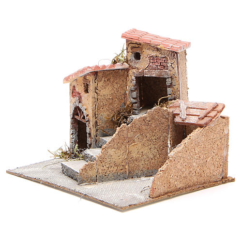 Maisons composition crèche liège et résine 19x20x18 cm 2