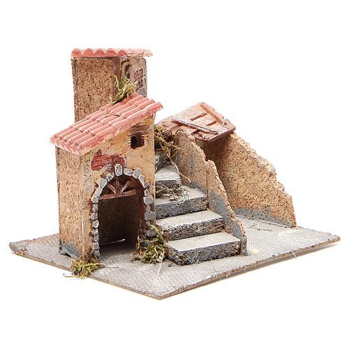 Maisons composition crèche liège et résine 19x20x18 cm 3