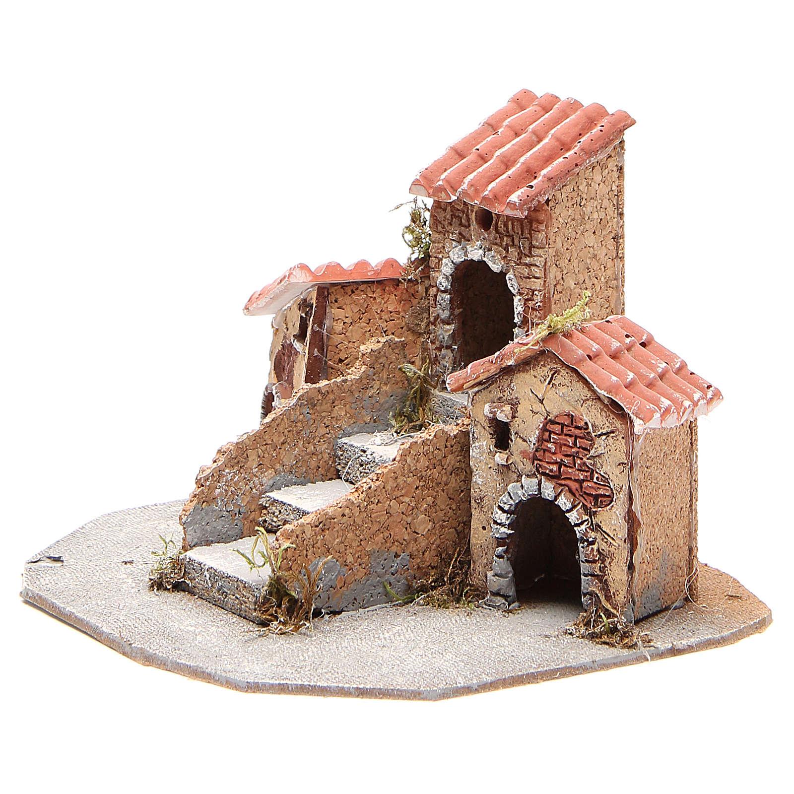 Composition maisons crèche napolitaine 17x24x20 cm 4