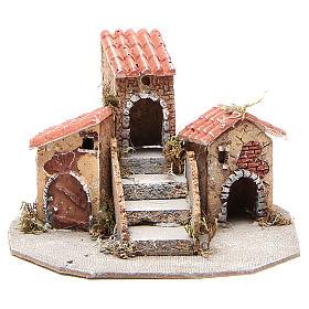 Composition maisons crèche napolitaine 17x24x20 cm s1