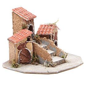 Composition maisons crèche napolitaine 17x24x20 cm s3
