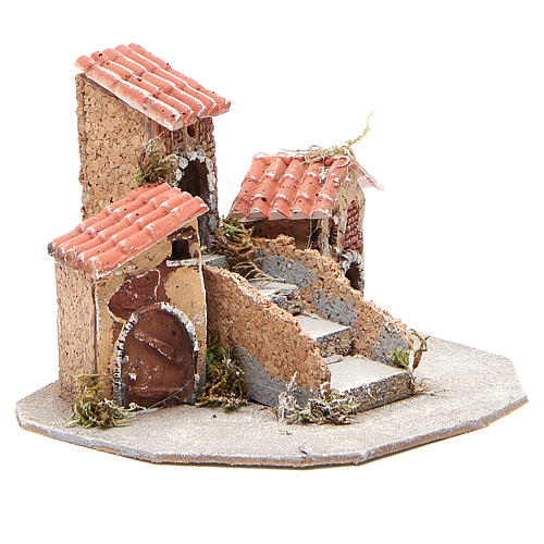 Composition of houses for Neapolitan Nativity scene, 17x24x20cm 3
