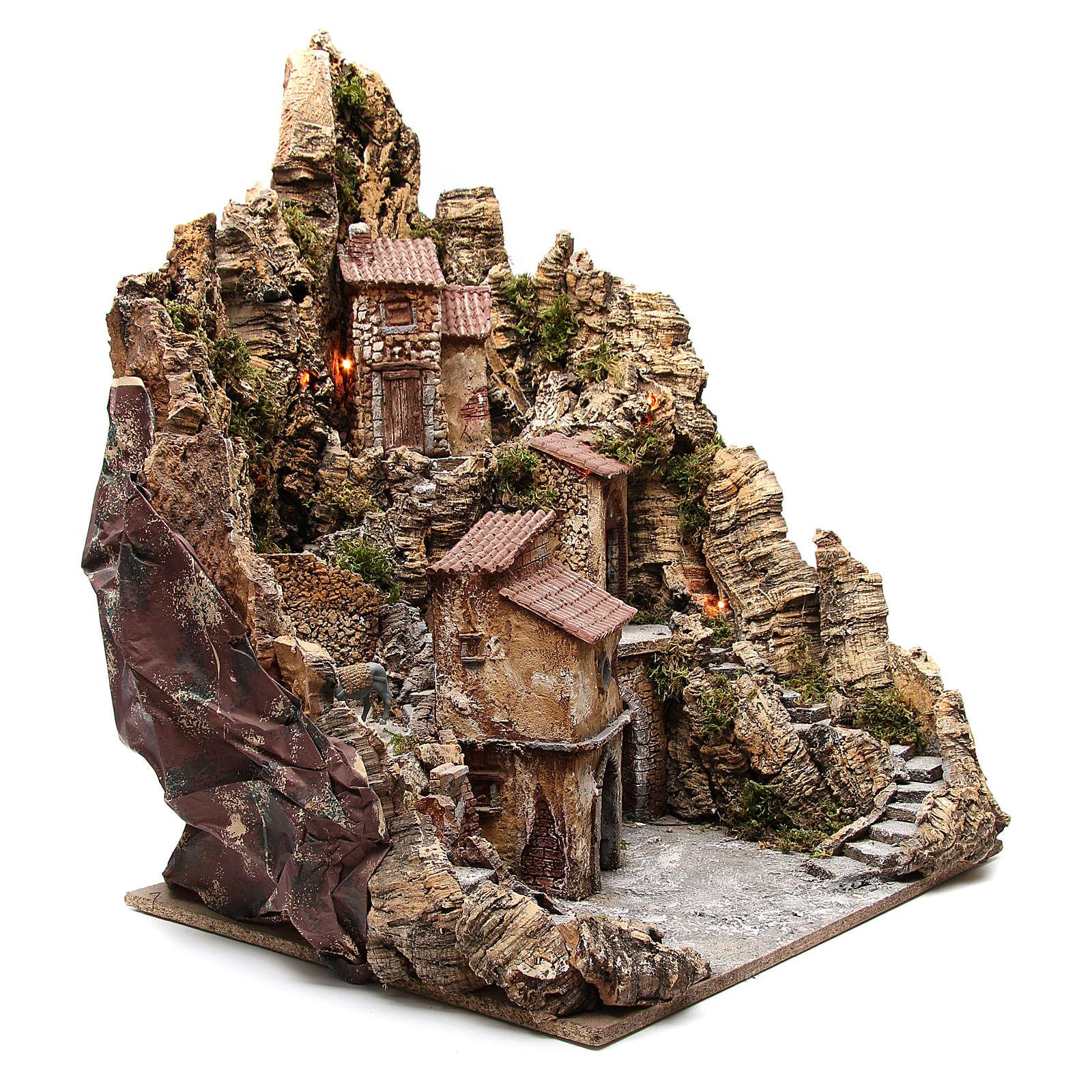 Pueblo para belén iluminado con cabaña, río y horno 80x62x58 cm 4