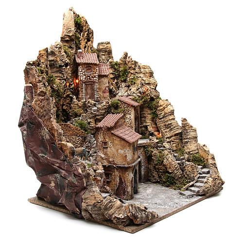 Pueblo para belén iluminado con cabaña, río y horno 80x62x58 cm 3