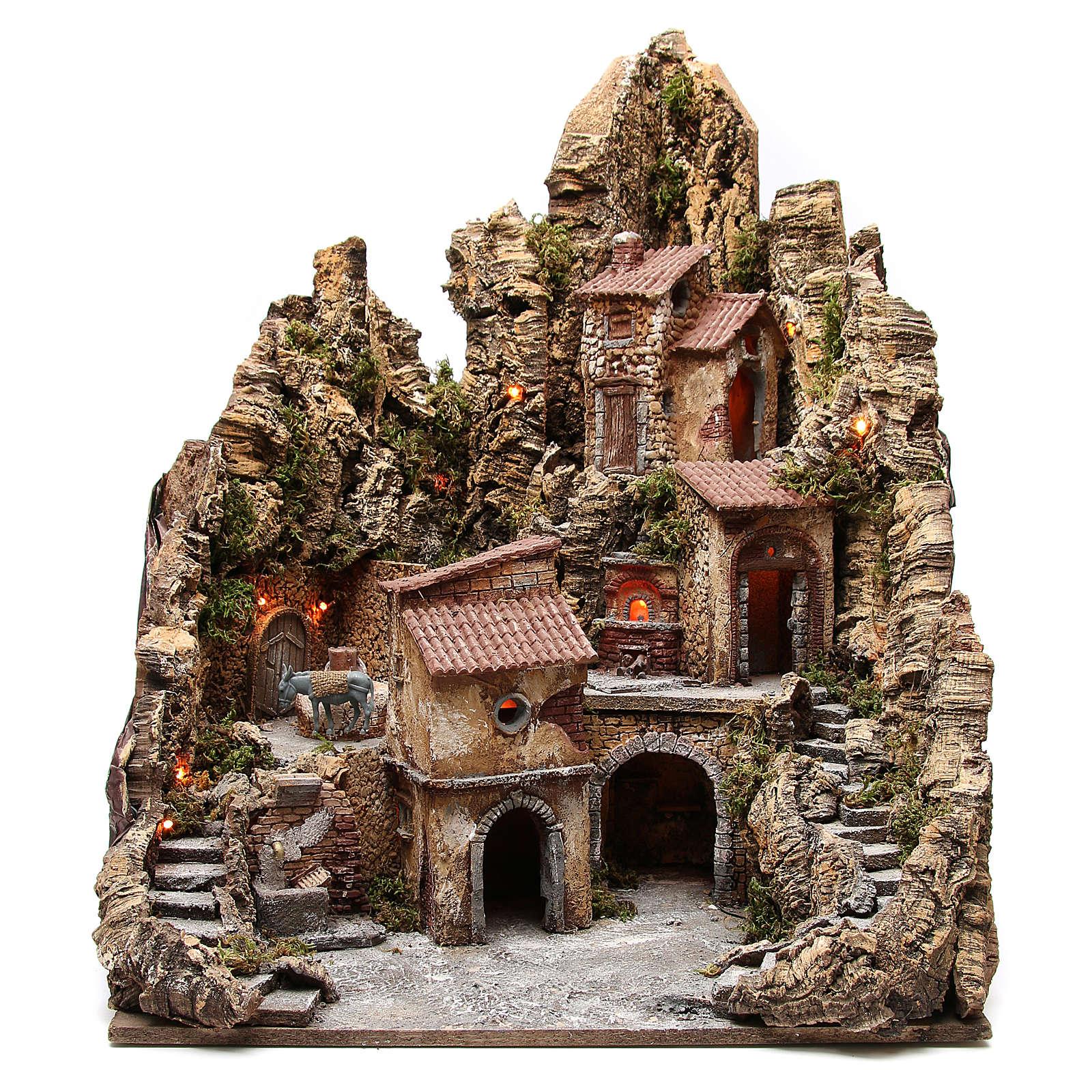 Borgo presepe illuminato con capanna ruscello forno 80x62x58 cm 4
