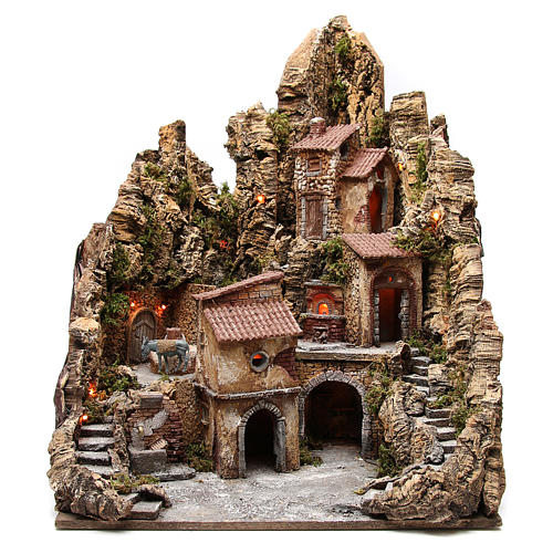 Illuminated village with stream, oven and stable, 80x62x58cm 1