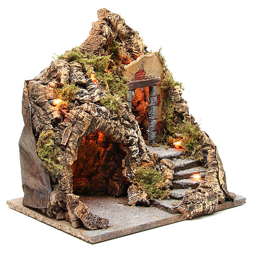 Illuminated grotto for Neapolitan Nativity scene, 38x30x30cm 3