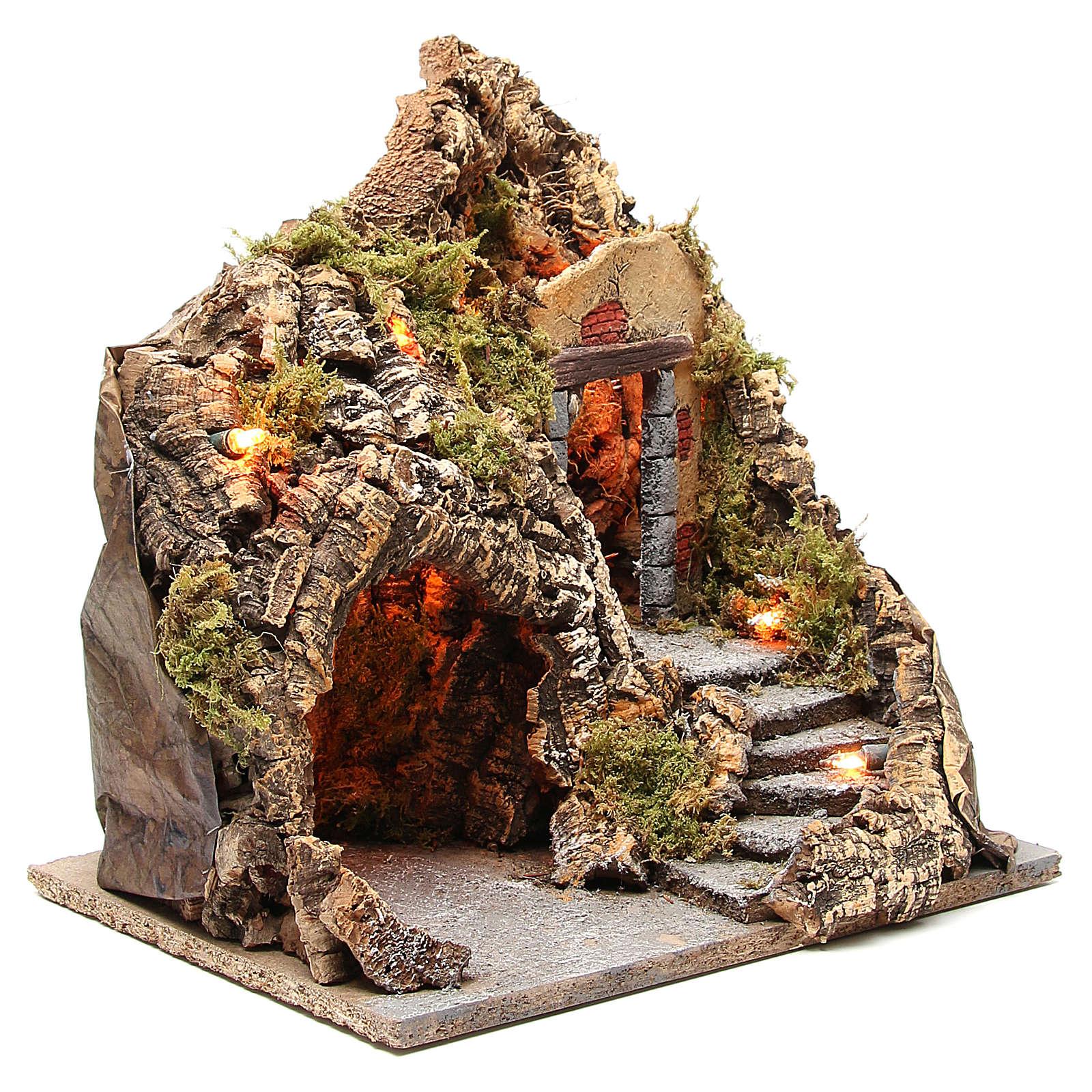Cueva presebre madera corcho iluminado 38x30x30 cm. 4