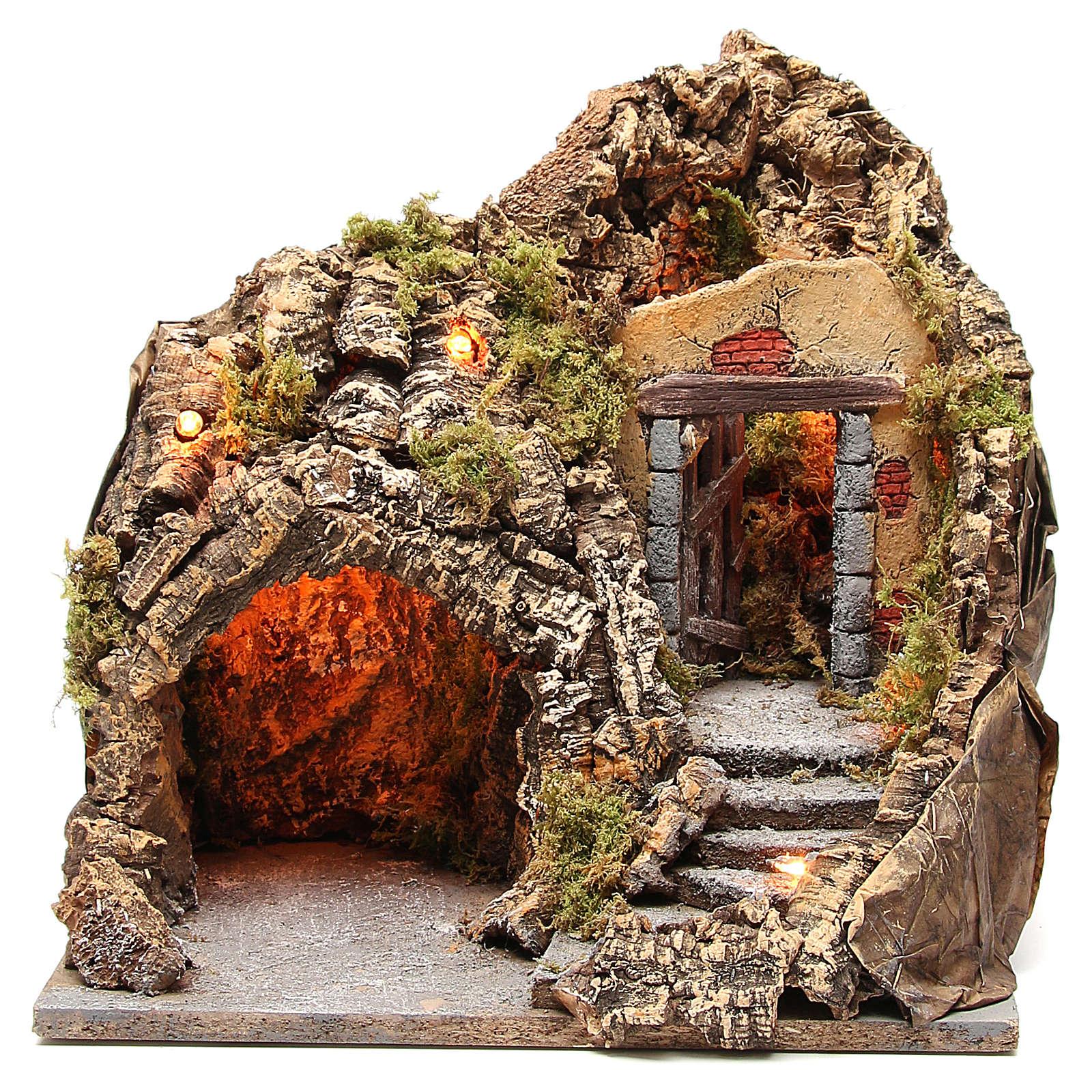 Grotta presepe legno sughero illuminata 38x30x30 cm 4
