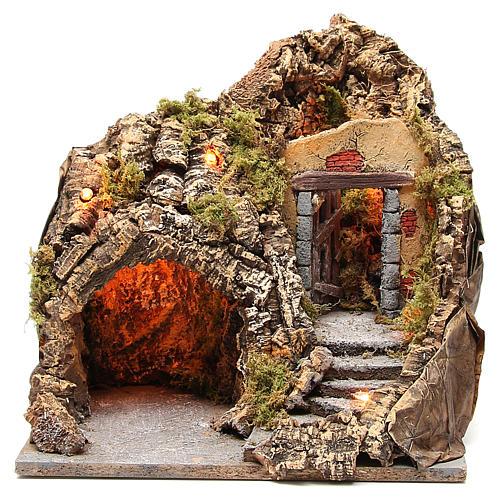 Grotta presepe legno sughero illuminata 38x30x30 cm 1