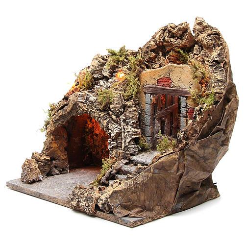 Grotta presepe legno sughero illuminata 38x30x30 cm 2
