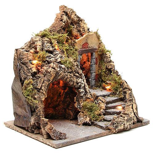 Grotta presepe legno sughero illuminata 38x30x30 cm 3