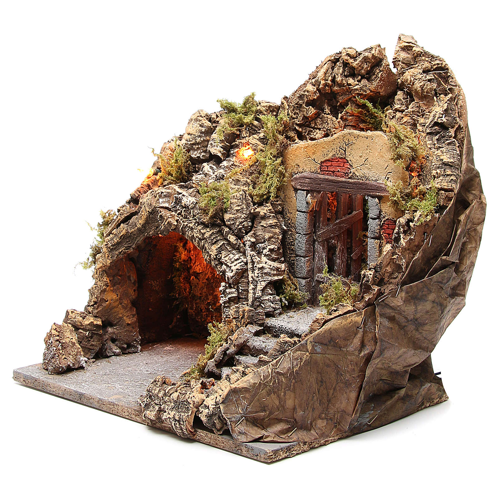 Illuminated grotto for Neapolitan Nativity scene, 38x30x30cm 4