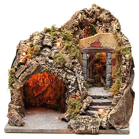 Illuminated grotto for Neapolitan Nativity scene, 38x30x30cm s1