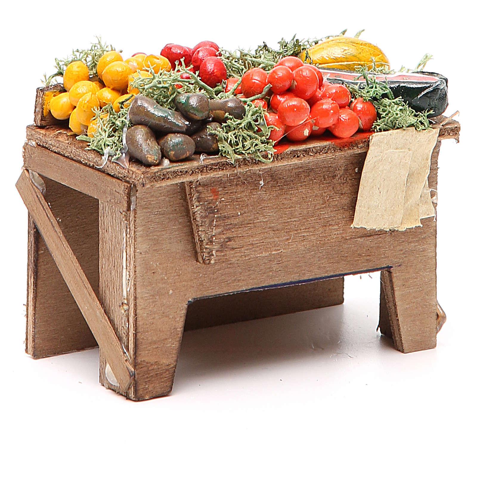 Tavola con verdure 8x9x7 cm presepe Napoli 4