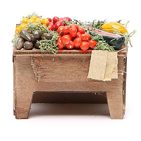 Tavola con verdure 8x9x7 cm presepe Napoli s1