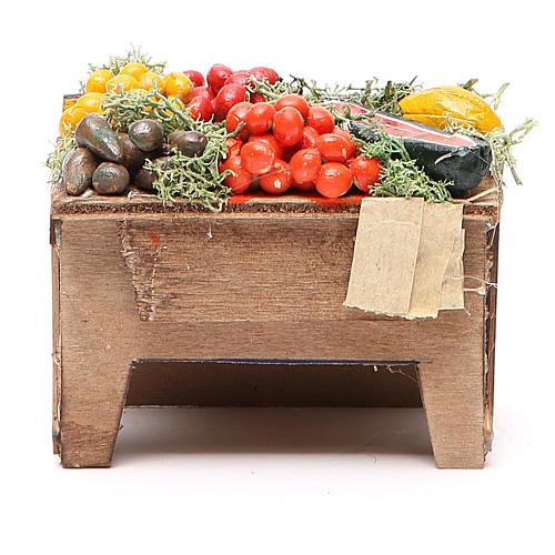 Tavola con verdure 8x9x7 cm presepe Napoli 1
