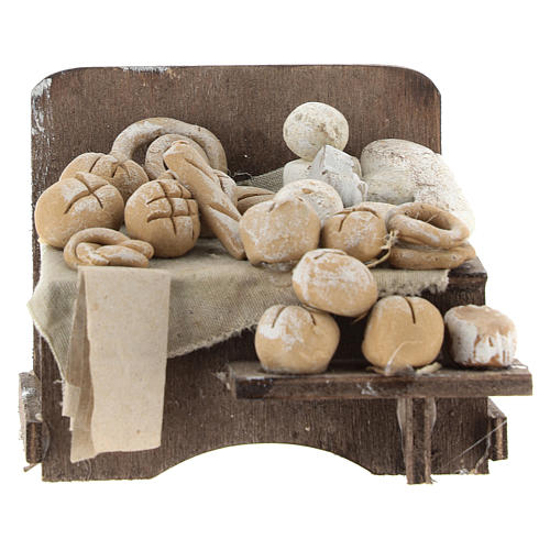 Work bench with bread and cheeses 7x9x8cm neapolitan Nativity 1