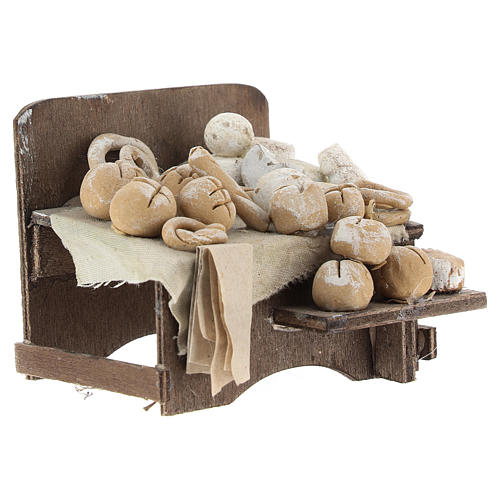 Work bench with bread and cheeses 7x9x8cm neapolitan Nativity 3