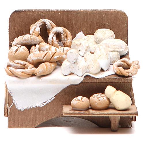 Banc avec pain et fromage 7x9x8 cm crèche napolitaine 1