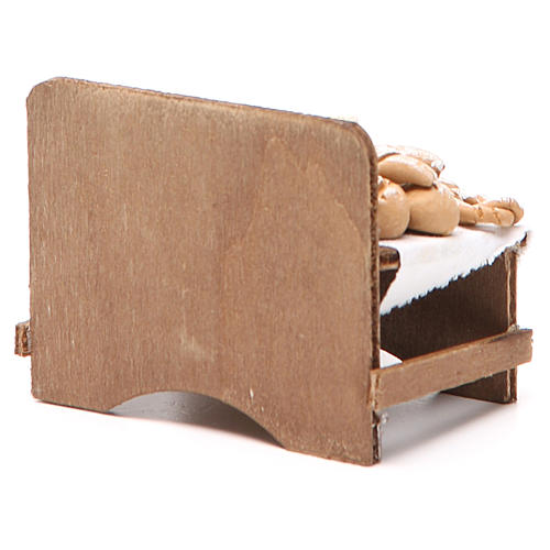 Banc avec pain et fromage 7x9x8 cm crèche napolitaine 4